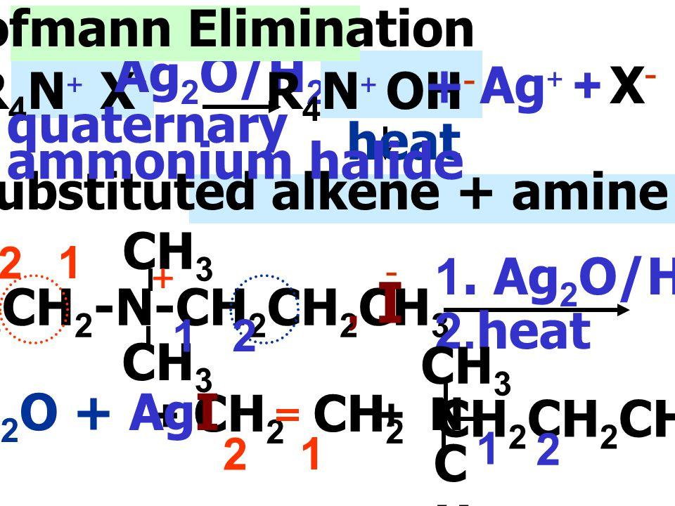 - 5.Hofmann Elimination Ag2O/H2O R4N+ X- R4N+ OH- + Ag+ + X- heat