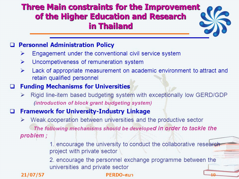Three Main constraints for the Improvement of the Higher Education and Research in Thailand