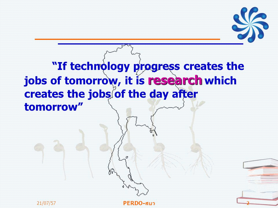If technology progress creates the jobs of tomorrow, it is research which creates the jobs of the day after tomorrow
