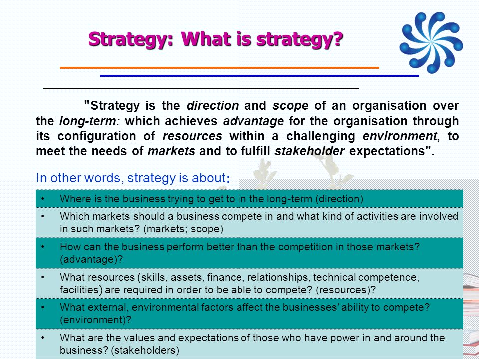 Strategy: What is strategy