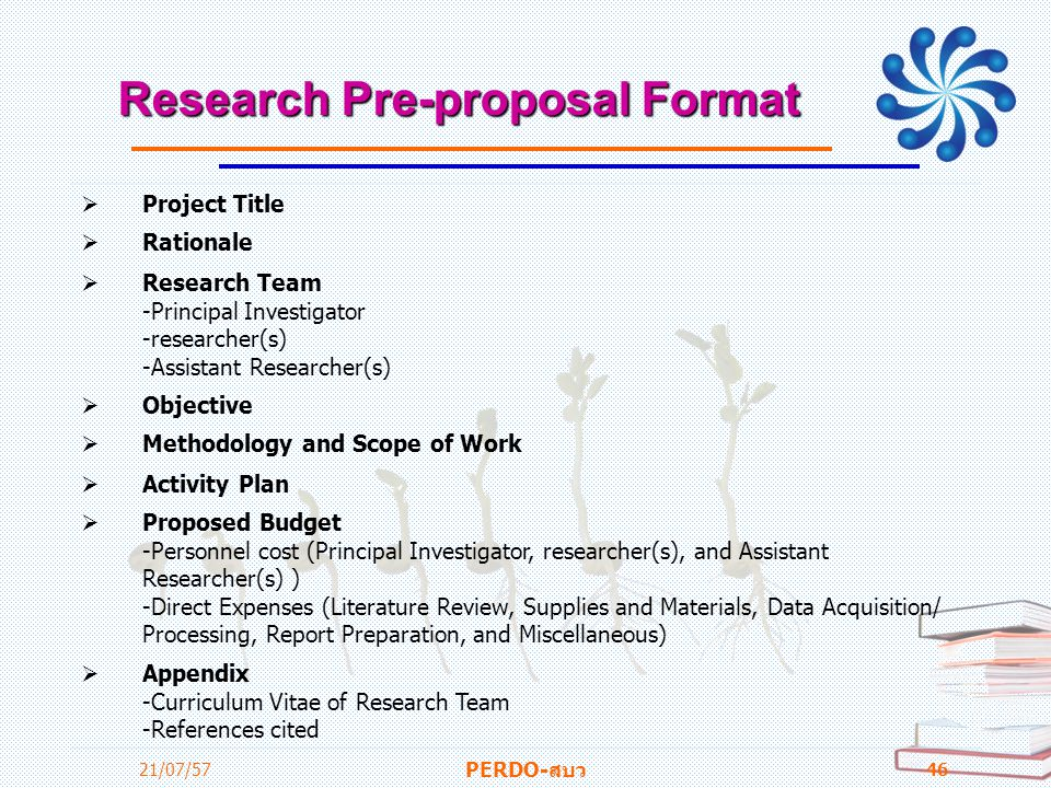Research Pre-proposal Format