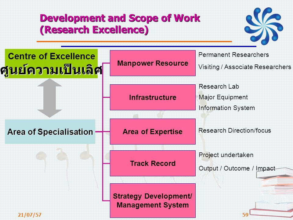 Development and Scope of Work (Research Excellence)
