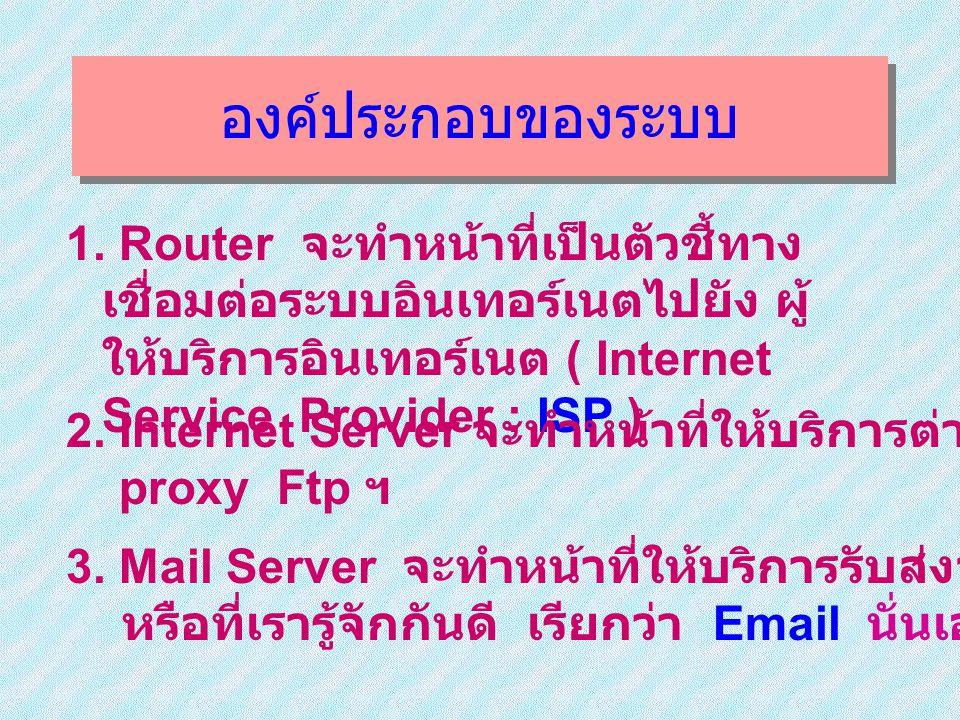 องค์ประกอบของระบบ 1. Router จะทำหน้าที่เป็นตัวชี้ทางเชื่อมต่อระบบอินเทอร์เนต ไปยัง ผู้ให้บริการอินเทอร์เนต ( Internet Service Provider ; ISP )