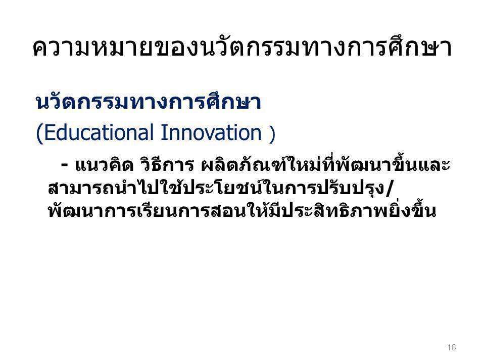 ความหมายของนวัตกรรมทางการศึกษา