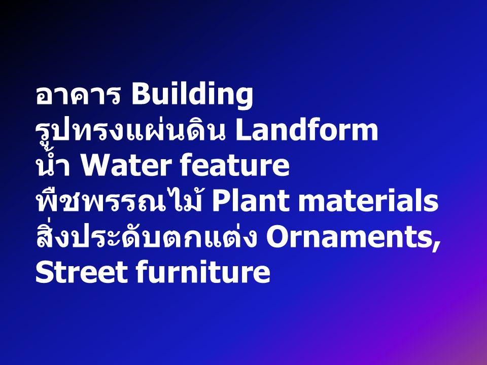 อาคาร Building รูปทรงแผ่นดิน Landform. น้ำ Water feature.