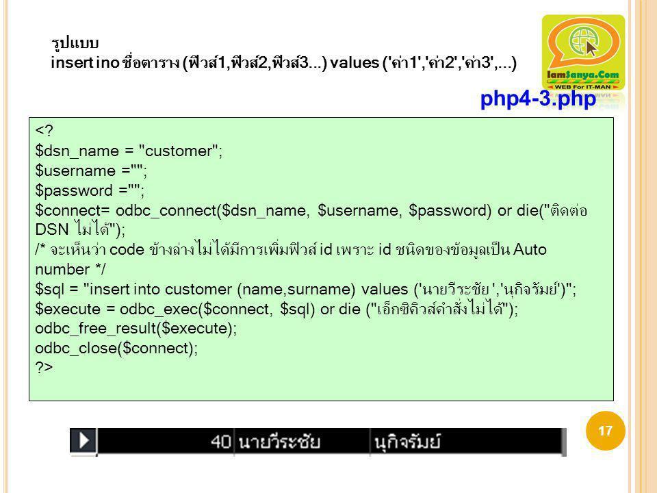 รูปแบบ insert ino ชื่อตาราง (ฟิวส์1,ฟิวส์2,ฟิวส์3...) values ( ค่า1 , ค่า2 , ค่า3 ,...) php4-3.php.