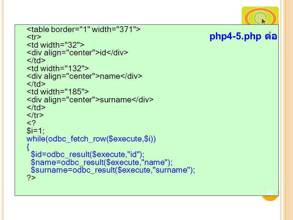 <table border= 1 width= 371 > <tr> <td width= 32 > <div align= center >id</div> </td> <td width= 132 > <div align= center >name</div> </td> <td width= 185 > <div align= center >surname</div> </td> </tr> < $i=1; while(odbc_fetch_row($execute,$i)) { $id=odbc_result($execute, id ); $name=odbc_result($execute, name ); $surname=odbc_result($execute, surname ); >