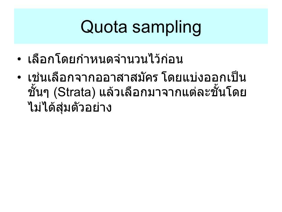 Quota sampling เลือกโดยกำหนดจำนวนไว้ก่อน