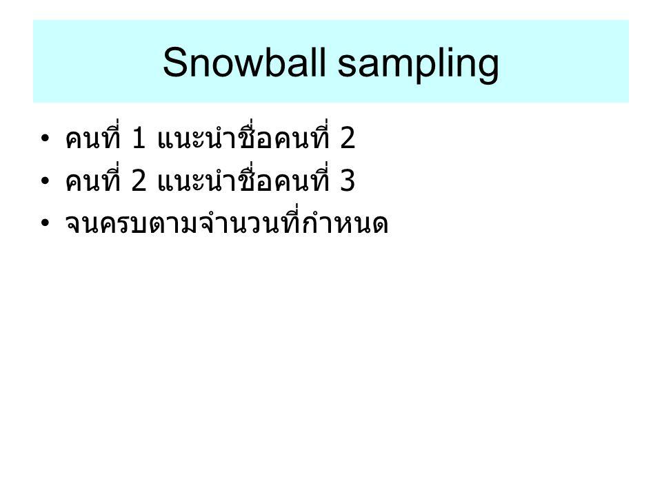 Snowball sampling คนที่ 1 แนะนำชื่อคนที่ 2 คนที่ 2 แนะนำชื่อคนที่ 3