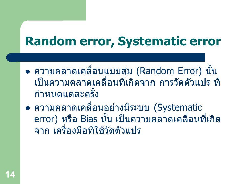 Random error, Systematic error