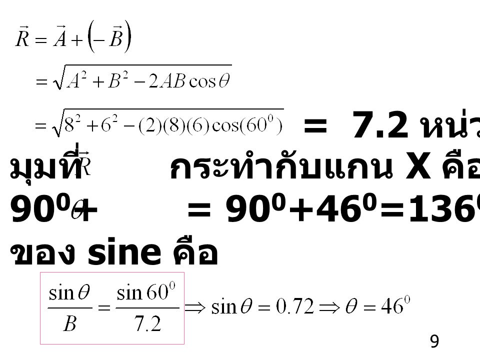 = 7.2 หน่วย มุมที่ กระทำกับแกน X คือ 900+ = 900+460=1360 หาได้จากกฎ ของ sine คือ