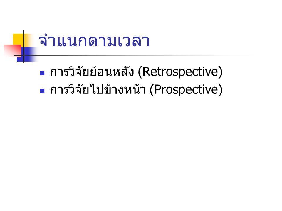 จำแนกตามเวลา การวิจัยย้อนหลัง (Retrospective)