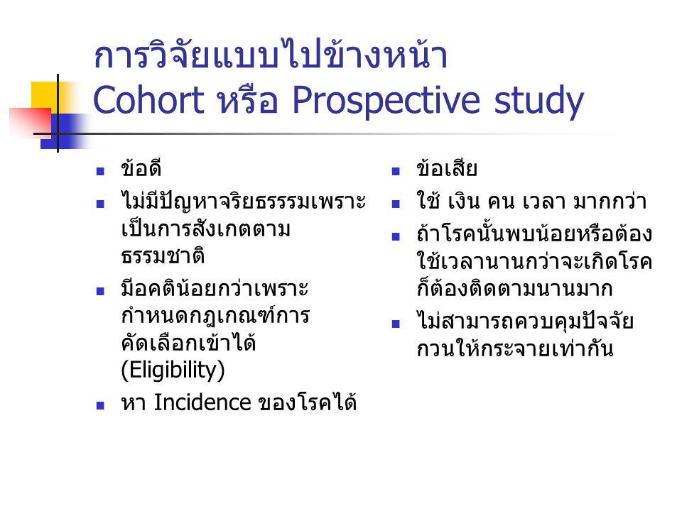 การวิจัยแบบไปข้างหน้า Cohort หรือ Prospective study