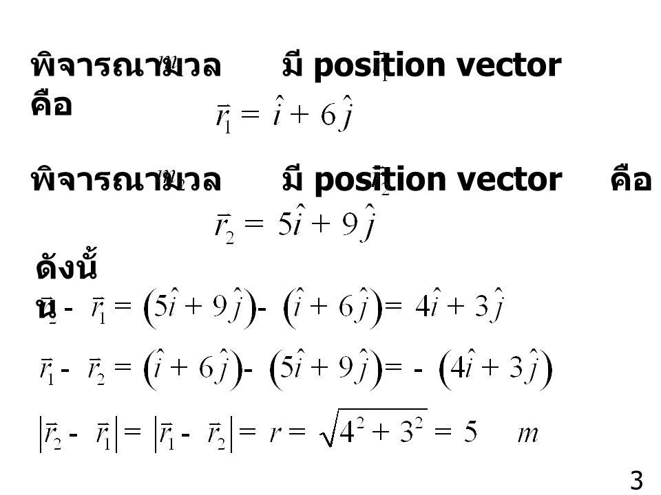 พิจารณามวล มี position vector คือ