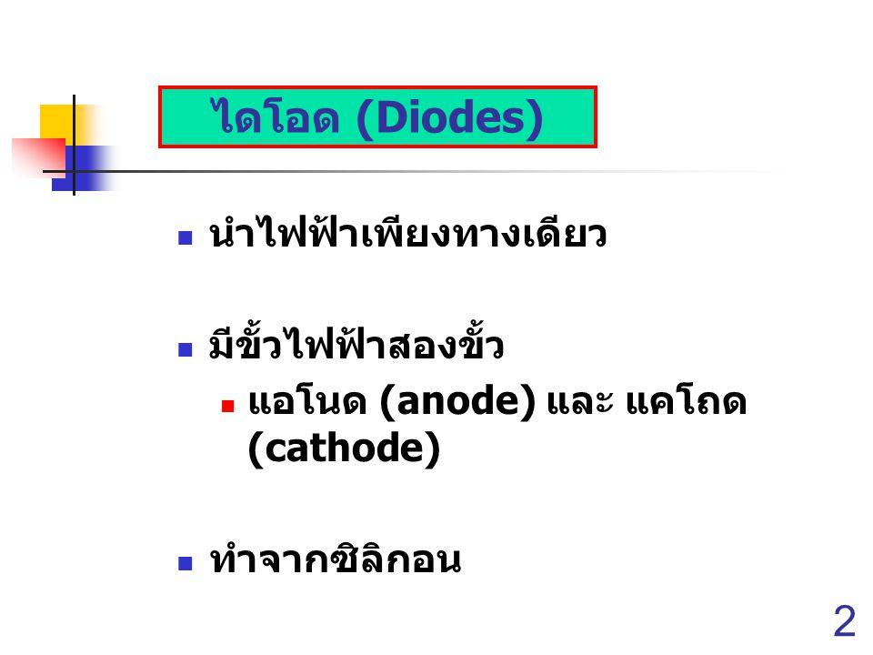 ไดโอด (Diodes) นำไฟฟ้าเพียงทางเดียว มีขั้วไฟฟ้าสองขั้ว