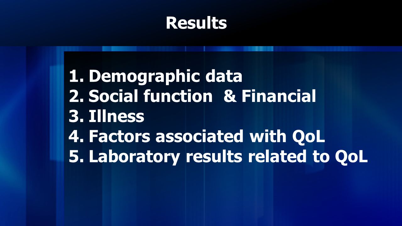 Social function & Financial Illness Factors associated with QoL