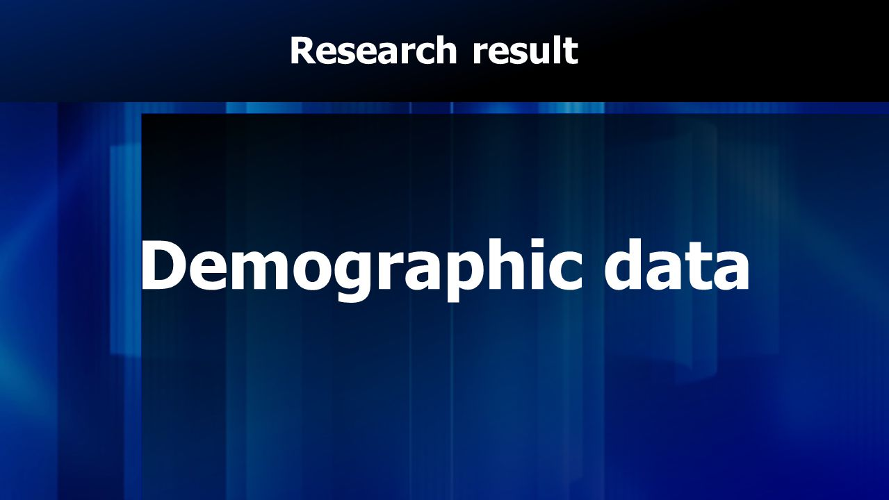 Research result Demographic data