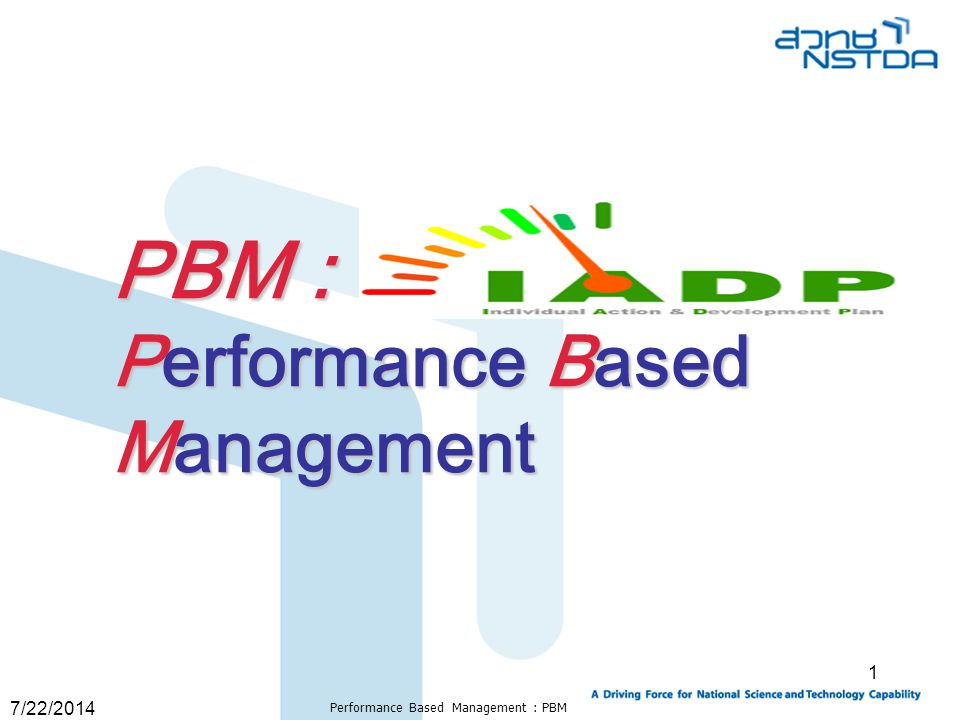 Performance Based Management : PBM