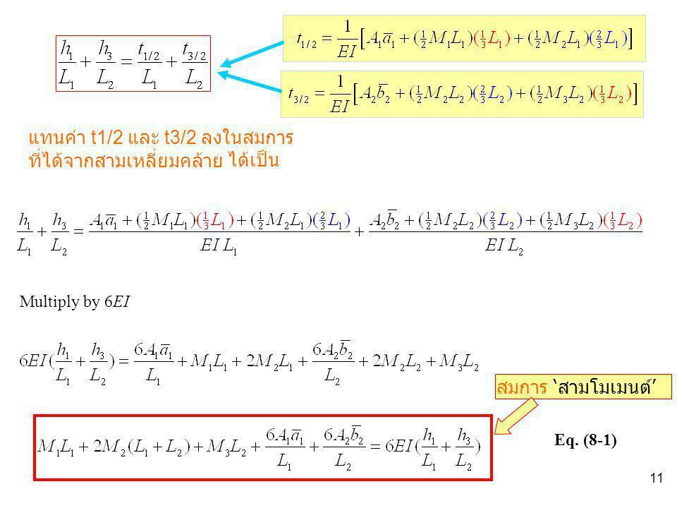 แทนค่า t1/2 และ t3/2 ลงในสมการที่ได้จากสามเหลี่ยมคล้าย ได้เป็น