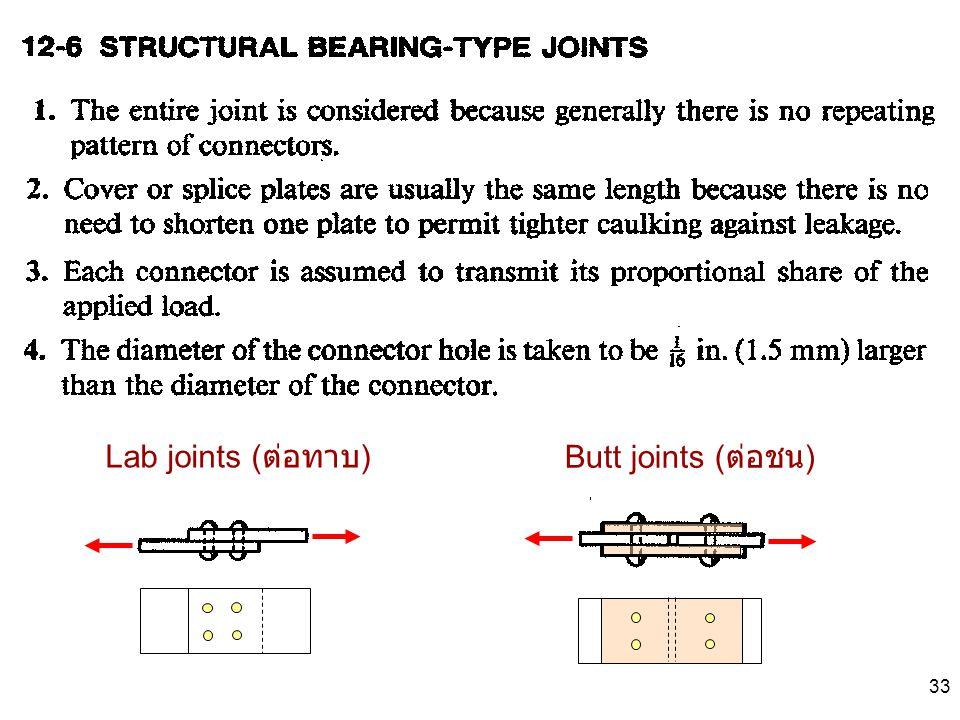 Lab joints (ต่อทาบ) Butt joints (ต่อชน)