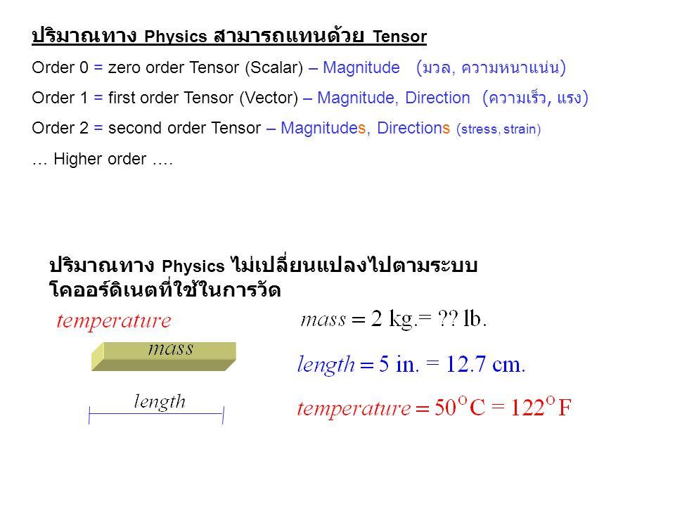 ปริมาณทาง Physics สามารถแทนด้วย Tensor