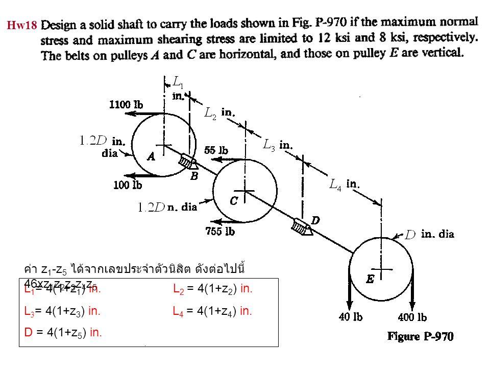 Hw18 ค่า z1-z5 ได้จากเลขประจำตัวนิสิต ดังต่อไปนี้ 46xz1z2z3z4z5. L1= 4(1+z1) in. L2 = 4(1+z2) in.