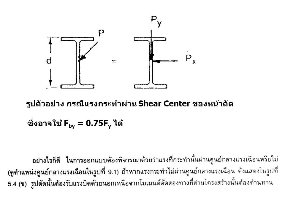 รูปตัวอย่าง กรณีแรงกระทำผ่าน Shear Center ของหน้าตัด