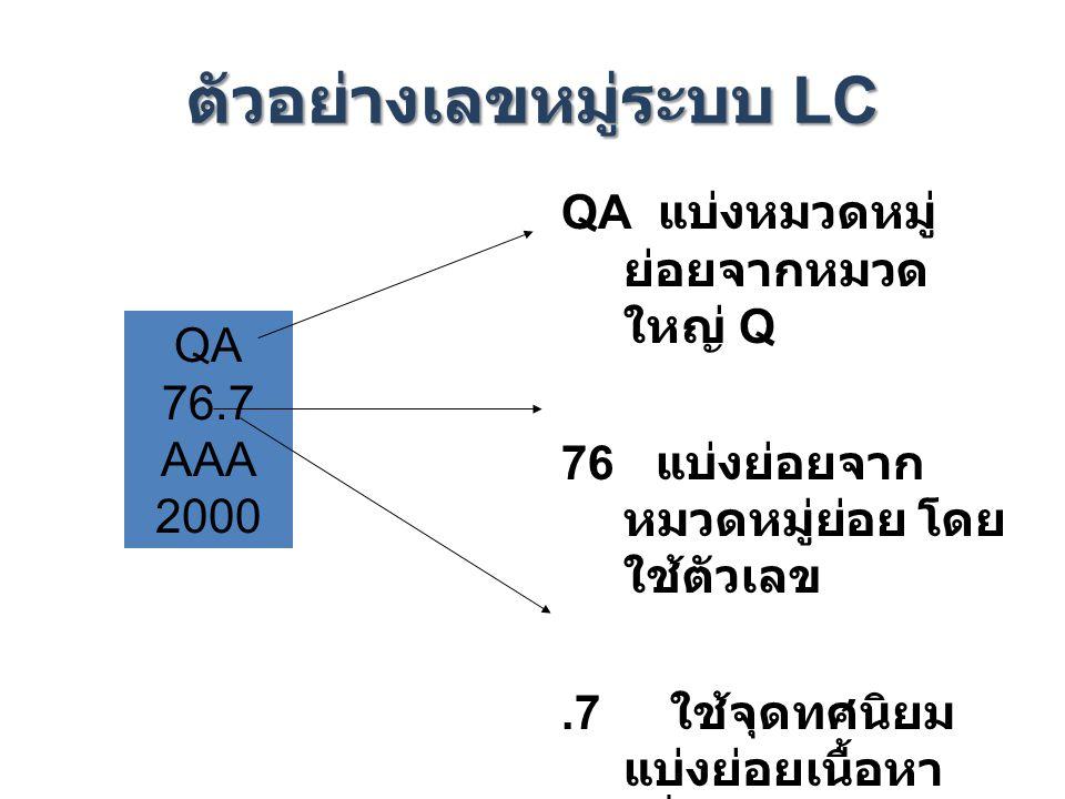 ตัวอย่างเลขหมู่ระบบ LC
