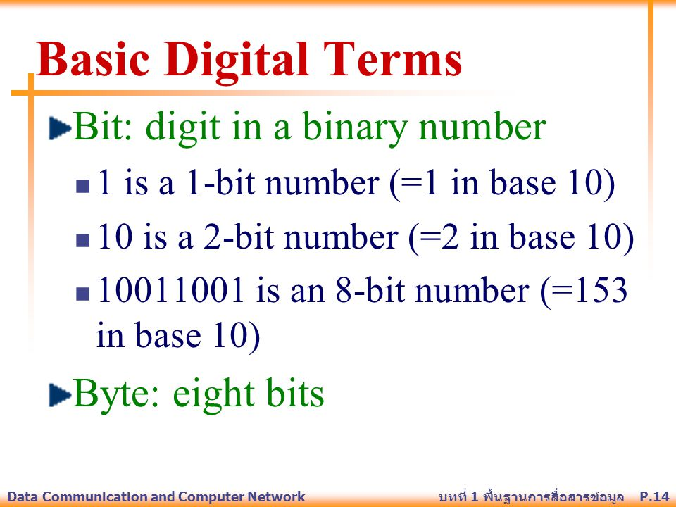 Basic Digital Terms Bit: digit in a binary number Byte: eight bits