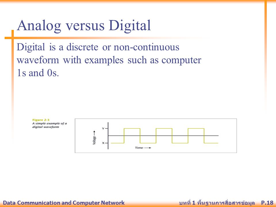 Analog versus Digital Digital is a discrete or non-continuous waveform with examples such as computer 1s and 0s.