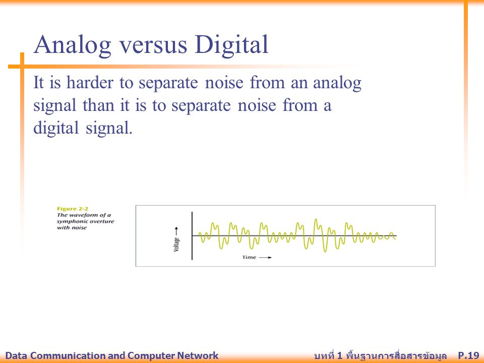 Analog versus Digital It is harder to separate noise from an analog signal than it is to separate noise from a digital signal.