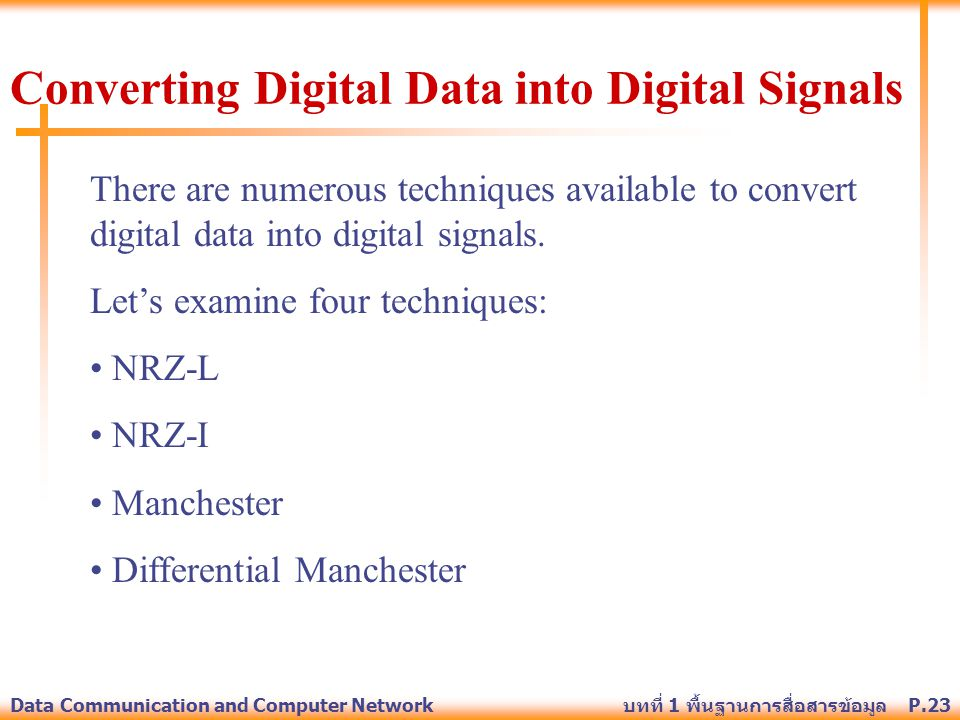 Converting Digital Data into Digital Signals