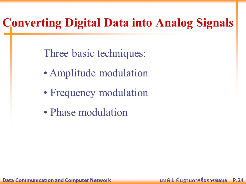 Converting Digital Data into Analog Signals