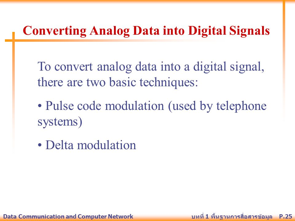 Converting Analog Data into Digital Signals