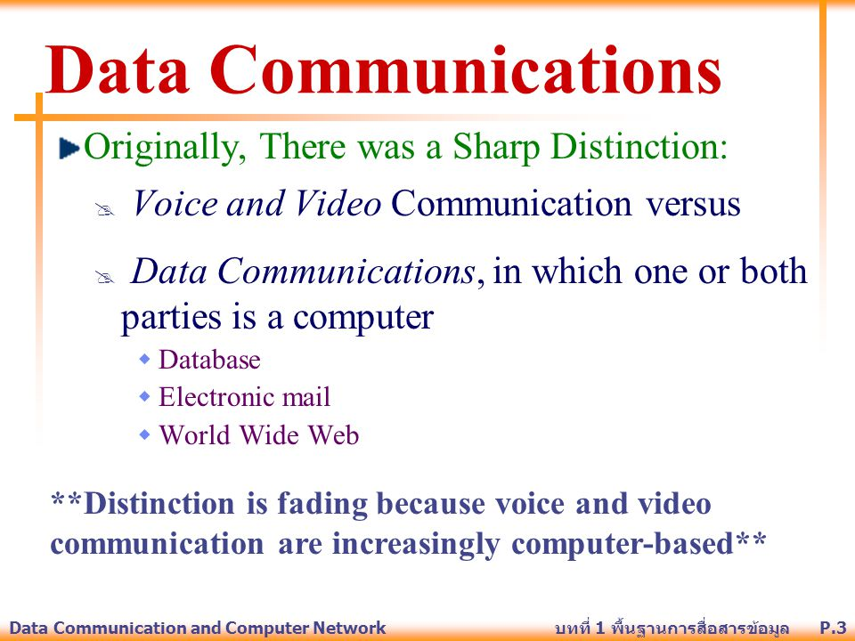 Data Communications Originally, There was a Sharp Distinction: