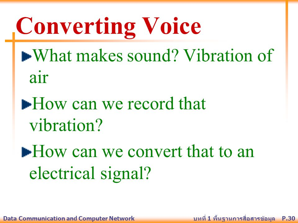Converting Voice What makes sound Vibration of air