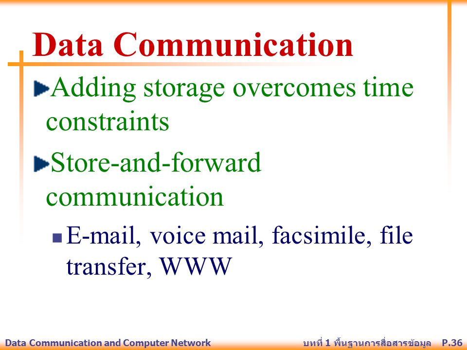 Data Communication Adding storage overcomes time constraints