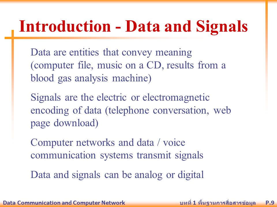 Introduction - Data and Signals