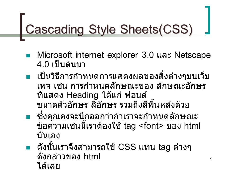 Cascading Style Sheets(CSS)