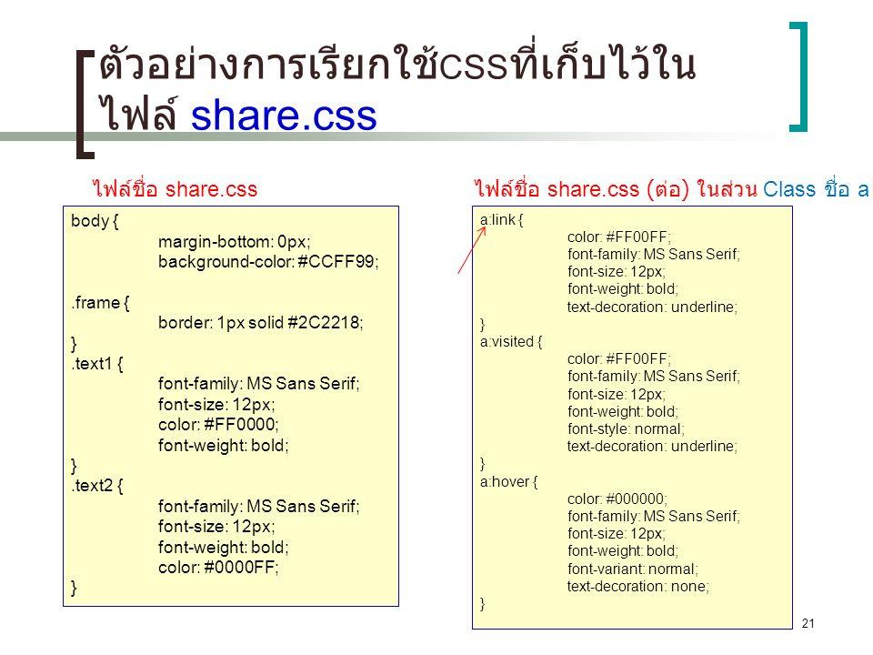 ตัวอย่างการเรียกใช้CSSที่เก็บไว้ในไฟล์ share.css