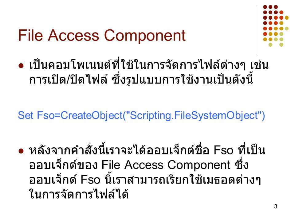 File Access Component เป็นคอมโพเนนต์ที่ใช้ในการจัดการไฟล์ต่างๆ เช่น การเปิด/ปิดไฟล์ ซึ่งรูปแบบการใช้งานเป็นดังนี้