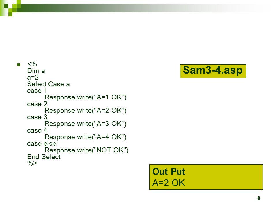 <% Dim a a=2 Select Case a case 1. Response. write( A=1 OK ) case 2