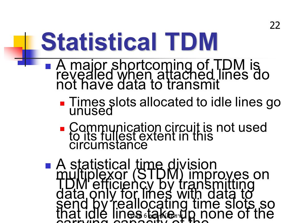 Statistical TDM A major shortcoming of TDM is revealed when attached lines do not have data to transmit.