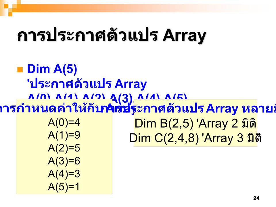 การประกาศตัวแปร Array