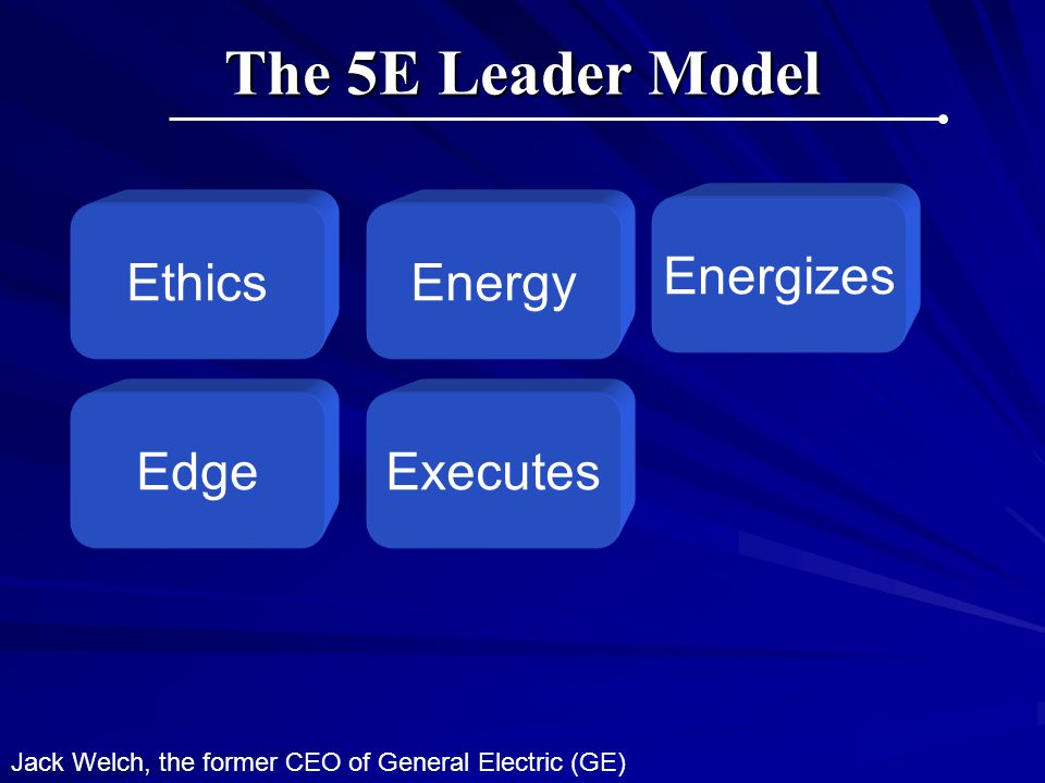 The 5E Leader Model Energizes Ethics Energy Edge Executes