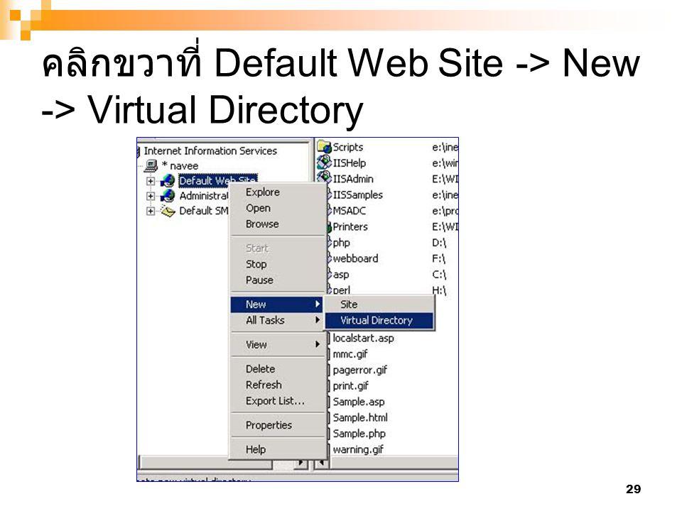 คลิกขวาที่ Default Web Site -> New -> Virtual Directory