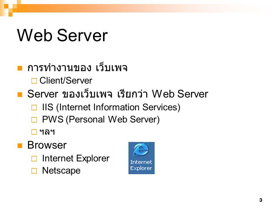 Web Server การทำงานของ เว็บเพจ Server ของเว็บเพจ เรียกว่า Web Server