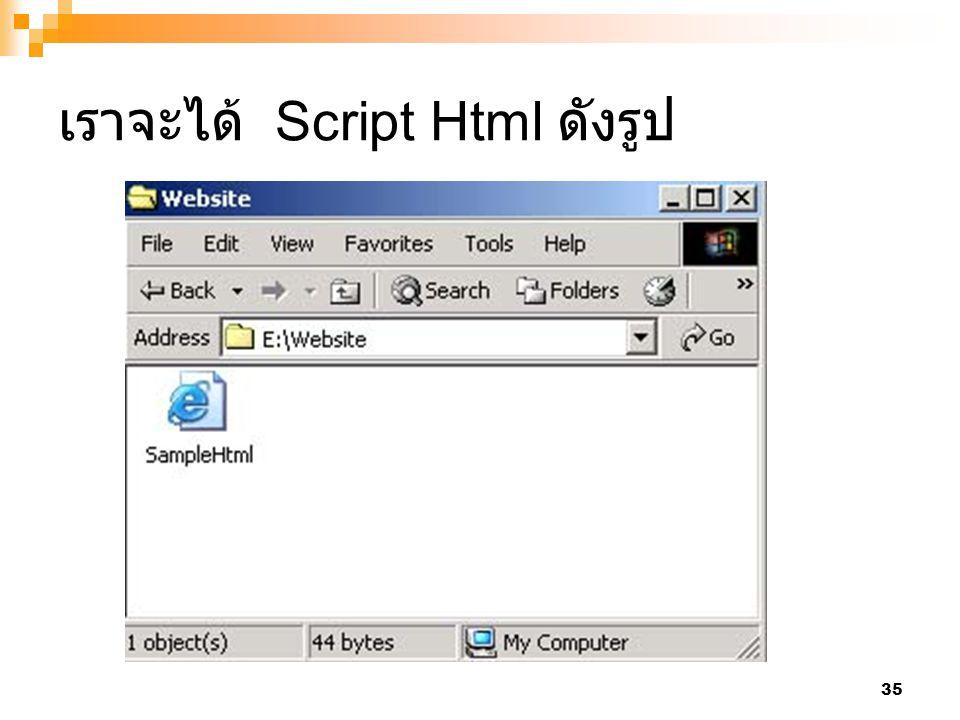 เราจะได้ Script Html ดังรูป
