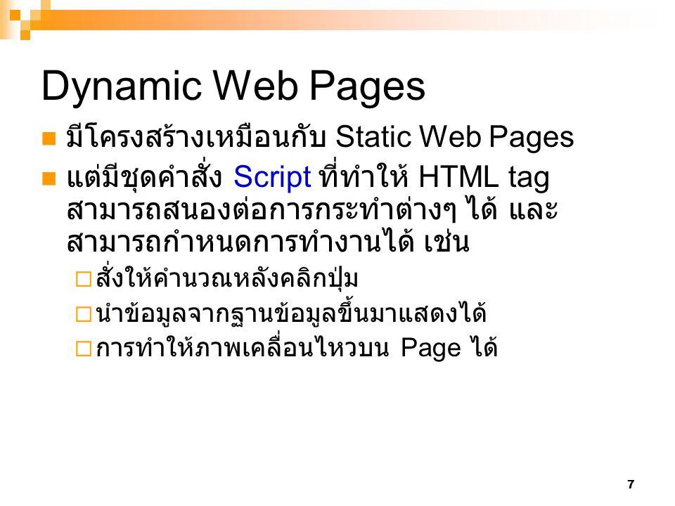 Dynamic Web Pages มีโครงสร้างเหมือนกับ Static Web Pages