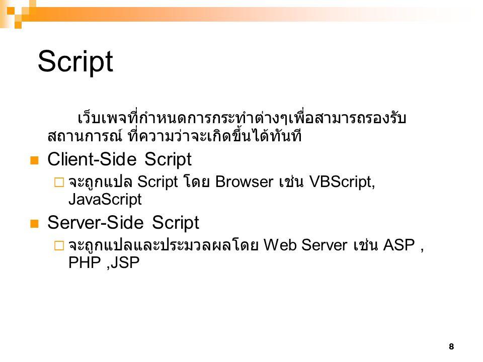 Script เว็บเพจที่กำหนดการกระทำต่างๆเพื่อสามารถรองรับสถานการณ์ ที่ความว่าจะเกิดขึ้นได้ทันที Client-Side Script.